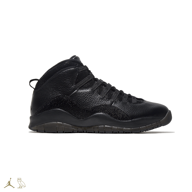 BLACK OVO JORDAN 10S SIDE