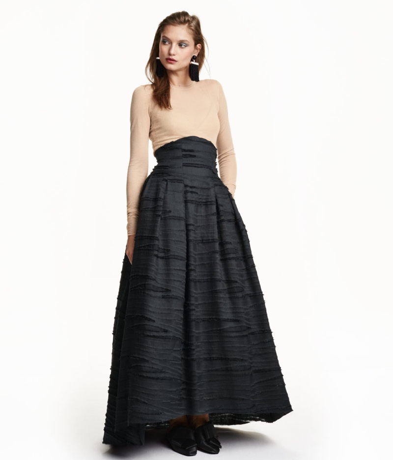 HM-Conscious-Silk-Linen-Blend-Long-Skirt